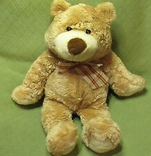 """LARGE Animal Alley TEDDY BEAR 26"""" Long Plush Stuffed Tan Plaid Bow Soft Cuddly"""