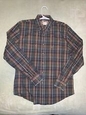 Wrangler XL Western Shirt Pearl Snap American Cowboy Large Men's Plaid Brown #C2