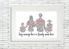 Personalised Father Child Print Custom Word Wall Day Frame Birthday Fathers Dad