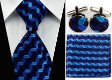Necktie Men's New Blue Black Stripe Tie Cufflinks Hanky Handkerchief Set FC025