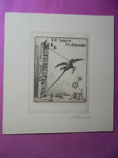 23054 poule, Artur Ex Libris original Gravure Fr. Osswald Judaica