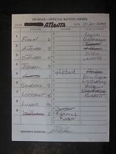 7/20/2000 Bobby Cox Signed Atlanta Braves Game Used Lineup Umpire Card 015