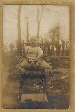 Carte Photo vintage card RPPC enfant bébé chaise haute ph0274