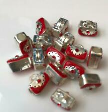 Handbag Shaped Silver & Red Beads Large Hole Pack of 15