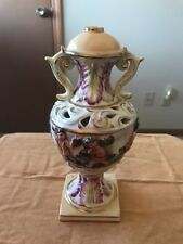 "Italy Urn/Lamp Base Porcelain Vintage Capodimonte Floral/Child 10"" x 3"" (Nf)"