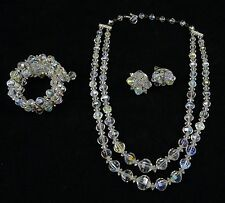 CRYSTAL Glass BEADS NECKLACE Aurora Borealis AB Vintage EARRINGS Clip BRACELET