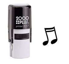 Sixteenth Note Music Self Inking Rubber Stamp - Black Ink (E-6048)