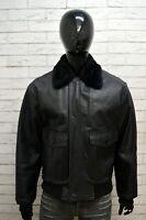 Giubbotto Uomo Vera Pelle Nero MONTEREGGI Taglia 52 Giacca Jacket Man Leather