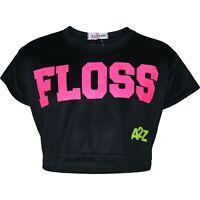 Enfants Filles Noir Haut Court Créateur Floss Élégant Mode T Shirt 5-13 Ans