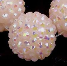 20mm Pink Acrylic Resin AB Rhinestone Round Ball Beads (5)