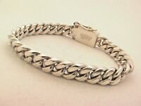 "Taxco Mexican 925 Sterling Silver Curb Chain Bracelet. 40g,  7.5""/19cm"