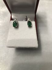 14kt Gold Natural Emerald With Diamond Stud Earring