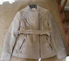 NWT XS Coach Womens Belted Suede Leather Moto Winter Jacket Coat Beige
