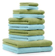 Betz Lot de 10 serviettes Classic, couleur vert pomme et turquoise, 100% coton