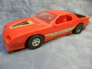"VINTAGE 1990'S 1/12 SCALE CAMARO Z28 PROCESSED PLASTICS RED PLASTIC 12"" TOY CAR"
