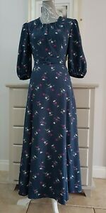 Vintage 1960s Maxi Dress Navy Floral Fully Lined Boho Hippie belt Puff Sleeve 8