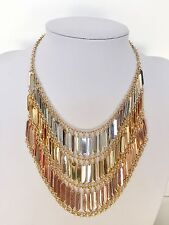 Gold Multi Color Womens Fashion Link Chain Statement Necklace Set