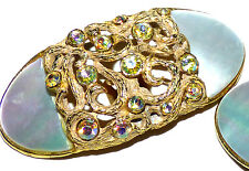 Vintage  MUSI Mother of Pearl Rhinestone Gold Metal Dress Fur Shoe Clip