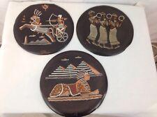 Vintage Old Set of 3 Metal Steel Ancient Egyptian Hanging Artwork Décor