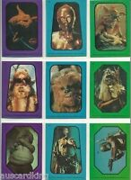 Star Wars - Jedi Series 1 -  Complete 33 Card Sticker Set - Variation - 1983 NM