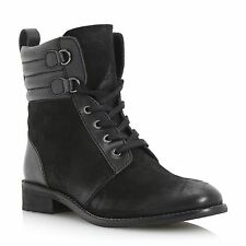 Dune 100% Leather Block Heel Lace Up Boots for Women