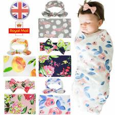 Newborn Swaddle Blanket Baby Boys Girls Sleeping Bag Flower Wrap Cloth Headband