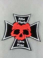 Bikers skull and cross bones Ride hard  emroidered  iron on /sew on badge