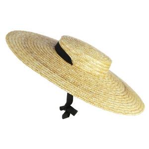 Women Vintage Wide Brim Boater Straw Hat Elegant Flat Top Floppy Sun Hats