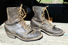 VINTAGE DISTRESSED LEATHER WORK LOGGER BOOTS SIZE 9 D
