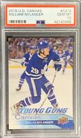 2016 2017  William Nylander PSA 10 UPPER DECK CANVAS YOUNG GUNS ROOKIE CARD RC