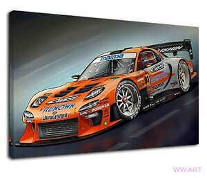 Mazda Rx7 On Racing Track Digital Illustration Canvas Wall Art Picture Print