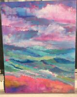 TRANQUIL OCEAN Original Acrylic Abstract Landscape Painting 16x20 Canvas Beach