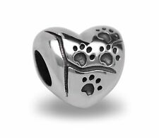 Stainless Steel Cat / Dog Paw Print Beads Fit European Charm Bracelets