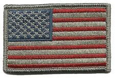 2PC Tactical USA Flag Subdued EMROIDERED MILITARY  ACU HOOK LOOP PATCH