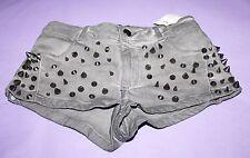 ASOS Designer Grey Punk Studded Denim Shorts Size 8 BNWT #SA39