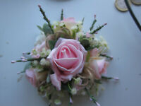 Wedding Anniversary Birthday Artifical Rose Pink & Ivory Cake Topper