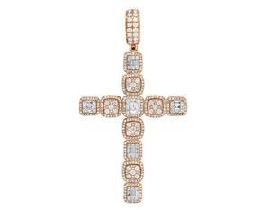 "14K Rose Gold Halo Baguette Cluster Real Diamond Cross Pendant 3"" 3 1/2CT"