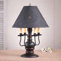 Cedar Creek 4-arm Wooden Table Lamp in Black w/ Shade | Primitive Colonial Light