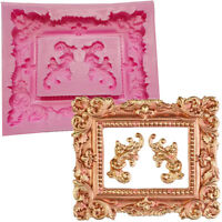 Large Mirror Frame Scroll Fondant Cake Silicone Mould Chocolate Sugarcraft Retro