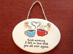 NWT August Ceramics Coffee Hanging Wall Plaque