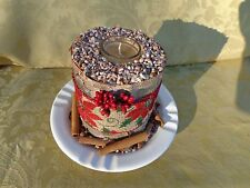 Country Primitive Birch Log Candle Holder on a White Plate
