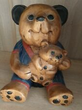 Hand Carved Wooden Teddy Bear Hugging His Teddy Vintage?