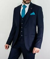 Mens Cavani Seeba Navy Fleck 3 Piece Formal Suit Tailored Fit Weddings Prom
