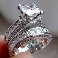 Wedding Engagement Ring Set 925 Sterling Silver Princess White Cz Sz 6-10