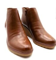 Clark's Collection Leather Slip-On Ankle Boots 6.5 M Chestnut Wedge Hazen Flora