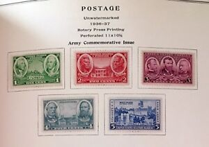 Scott #785 - 789, Army commemorative Issue, never used, hinged, 1936-37