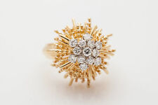 Vintage $7000 1.50ct VS G Diamond 18k Yellow Gold SUN Star Ring Band HEAVY 16g