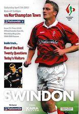 Football Programme>SWINDON TOWN v NORTHAMPTON TOWN Apr 2001