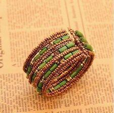 Bracciali di bigiotteria verde elastici