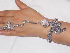 Silver Rhinestone Crystal Snake Bangle Cuff With Stretch Ring Set